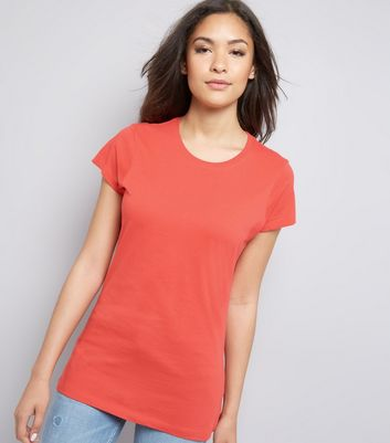 Coral Marl Cotton T-Shirt