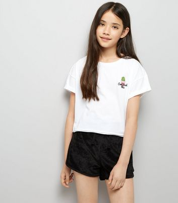 Teens Black Towelling Shorts