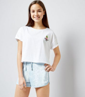 Teens Pale Blue Towelling Shorts