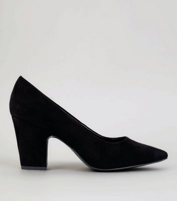 Black Suedette Block Court Heels