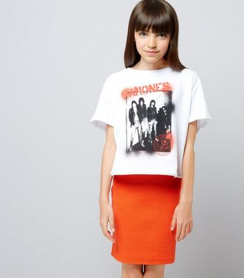 Teens Orange Ribbed Tube Skirt