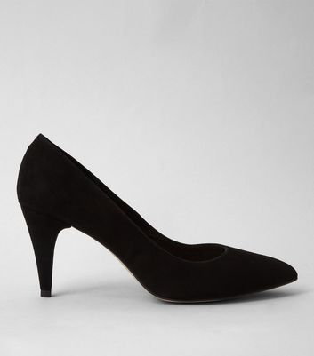 Black Suede Pointed Court Shoes