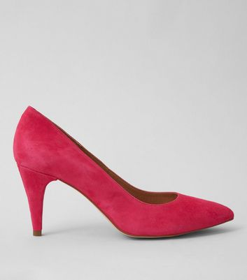 Pink Suede Pointed Court Shoes