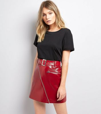 Red Patent Zip Front Mini Skirt
