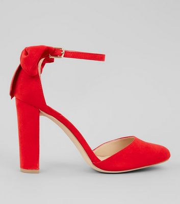 Red Suedette Bow Back Heels
