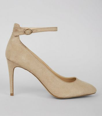 Mink Suedette Ankle Strap Court Shoes
