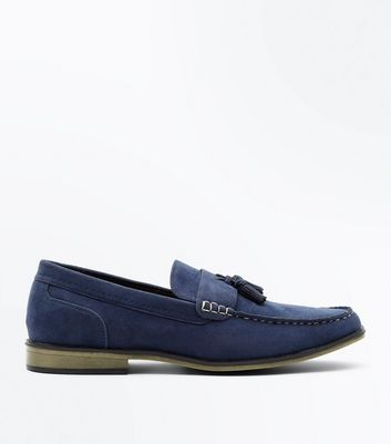 Blue Contrast Stitch Tassel Loafers