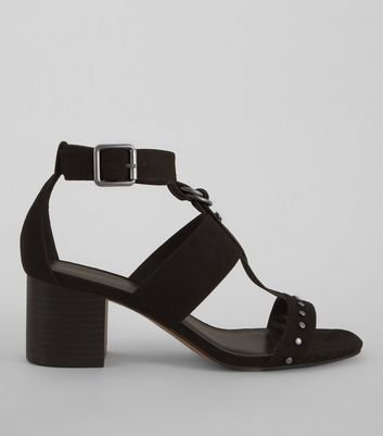 Black Suedette Studded Block Sandals