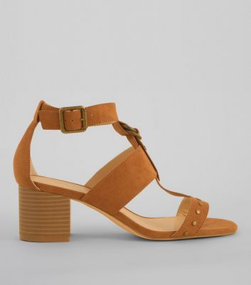 Tan Stud Block Heel Sandals