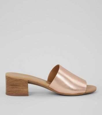 Rose Gold Leather Heeled Mules