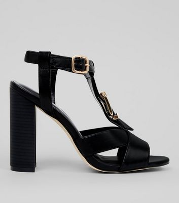 Black Buckle Block Heeled Sandals