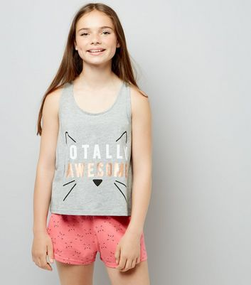 Teens Grey Totally Pawesome Pyjama Set