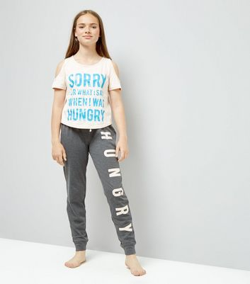 Teens Pink Hungry Slogan Pyjama Set