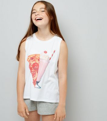 Teens White Pizza Is Bae Pyjama Set