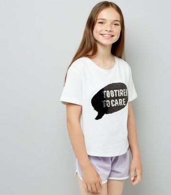 Teens White Too Tired Pyjama Set