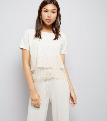 Tall Cream Lace Trim Jersey Pyjama T-Shirt