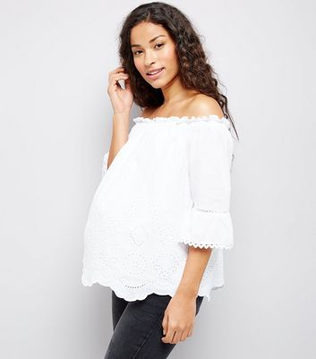 Maternity White Cut Out Detail Bardot Neck Top