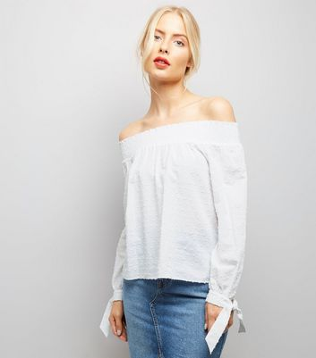 White Tie Sleeve Bardot Neck Top
