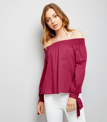 Deep Pink Tie Sleeve Bardot Neck Top