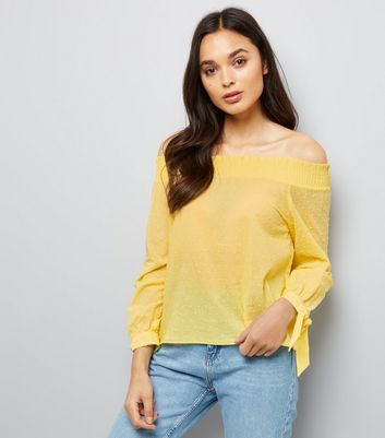 Yellow Bardot Neck Top