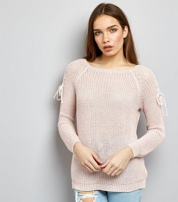 Mid Pink Tie Shoulder Knitted Jumper