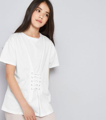 Teens White Eyelet Lace Up Oversized T-Shirt