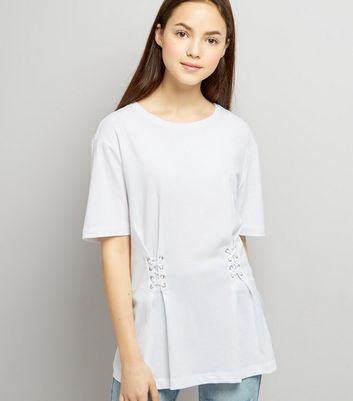 Teens White Lace Up T-Shirt