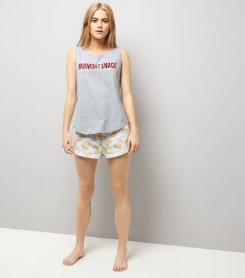 Light Grey Midnight Snack Slogan Pyjama Set