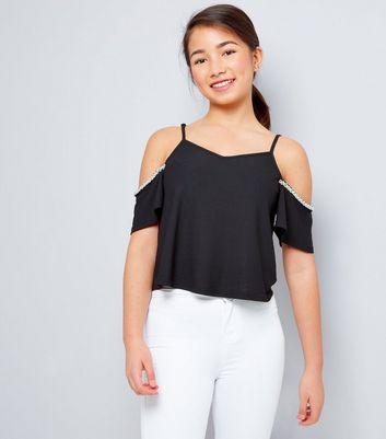 Pearl Embellished Bare Shoulder Top