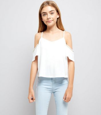 Teens White Pearl Embellished Cold Shoulder Top