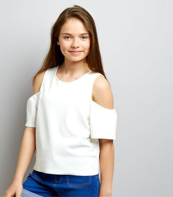 Teens White Crepe Flutter Sleeve Cold Shoulder Top