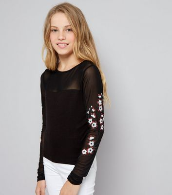 Teens Black Floral Print Mesh Sleeve Top