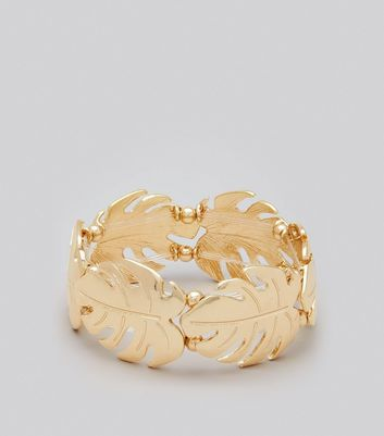 Gold Cheeseplant Leaf Bracelet