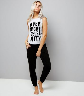 Petite Grey Over Night Celebrity Slogan Pyjama Set