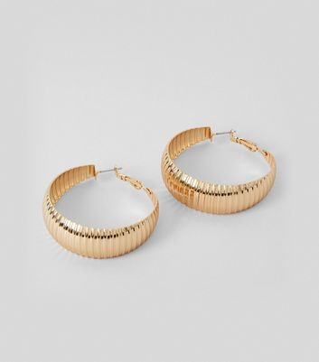 Gold Ridged Wide Hoop Earrings