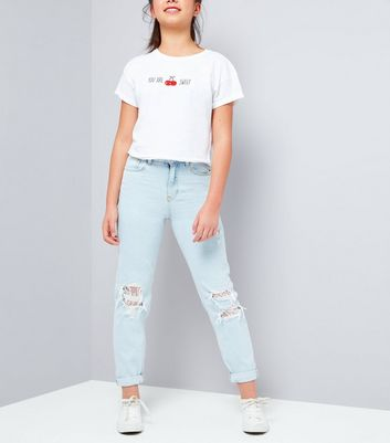 Teens Pale Blue Ripped Lace Knee Mom Jeans