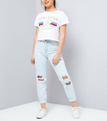 Teens Pale Blue Ripped Fishnet Knee Mom Jeans