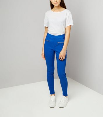 Teens Bright Blue Zip Pocket Skinny Trousers