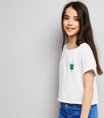 White 'Just My Luck' Slogan Clover Print T-Shirt