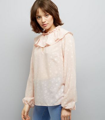 Shell Pink Frill Trim Long Sleeve Top