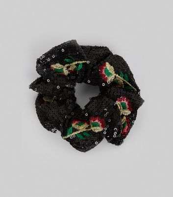 Black Sequin and Floral Embroidered Scrunchie