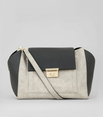 Grey Contrast Slouchy Bag
