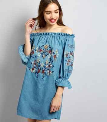 Parisian Blue Floral Embroidered Denim Dress