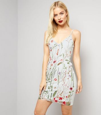 Parisian White Floral Embroidered Mesh Dress