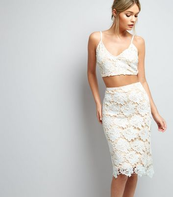 Parisian White Floral Lace Midi Skirt