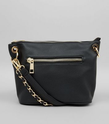 Black Chain Strap Cross Body Bag