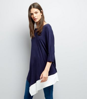Blue Vanilla Navy Asymmetric Hem Tunic