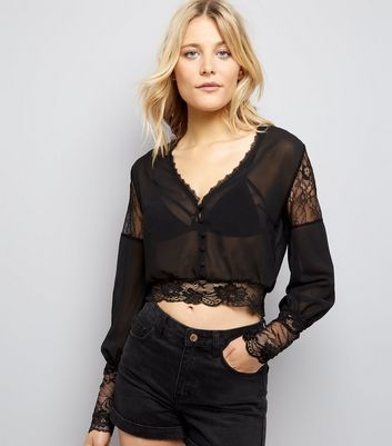 Pink Vanilla Black Lace Trim Blouse