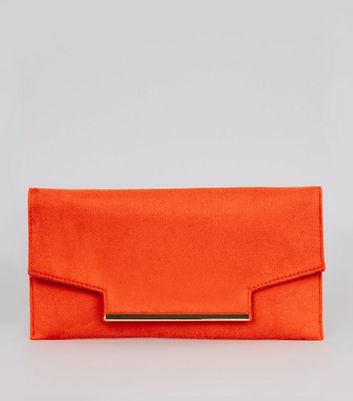 Orange Metal Trim Clutch Bag