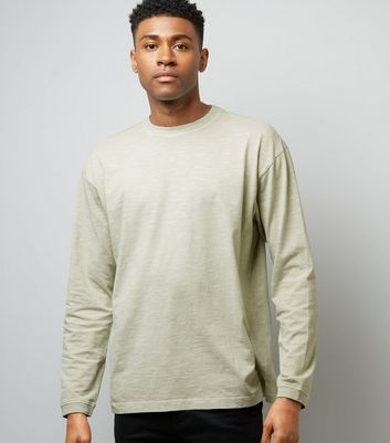 Grey Round Neck Long Sleeve T-Shirt